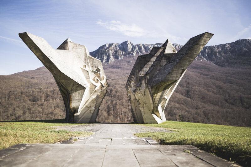 The Tjentište War Memorial in Bosnia and Herzegovina.