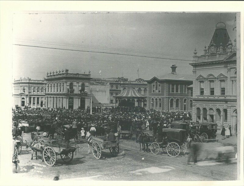 The main square of Invercargill shortly after Dean's execution.