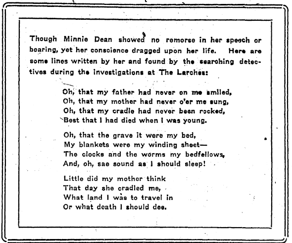 A poem by Dean reprinted in the <em>New Zealand Truth</em> in 1922.