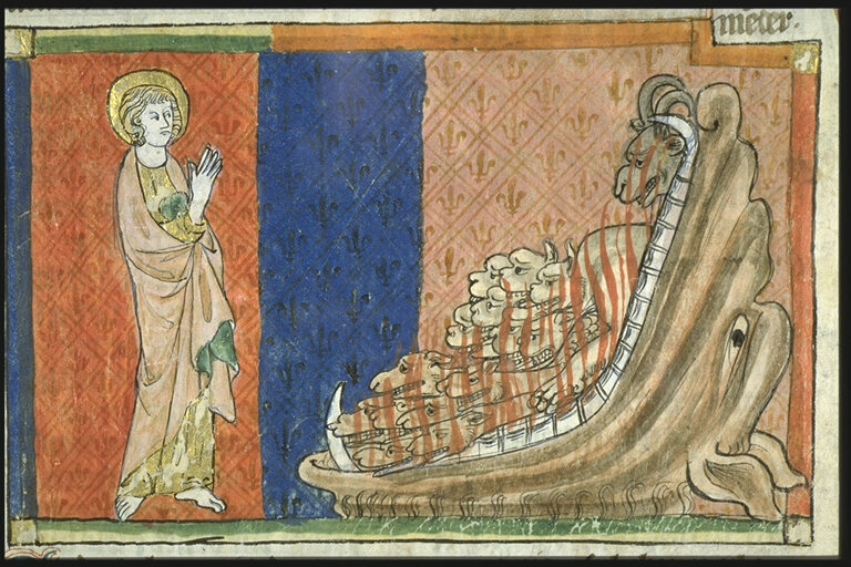 St. John and a false prophet, depicted here as a beast with many heads.
