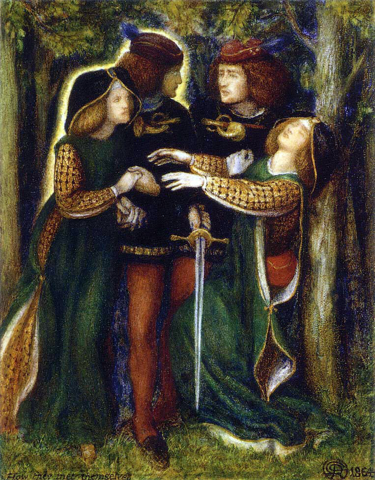 <em>How They Met Themselves</em>, by Dante Gabriel Rossetti, shows a couples' fateful meeting of their doppelgängers.