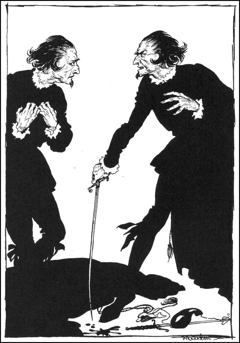 An illustration by Arthur Rackham of Edgar Allan Poe's doppelgänger short story <em>William Wilson</em>.