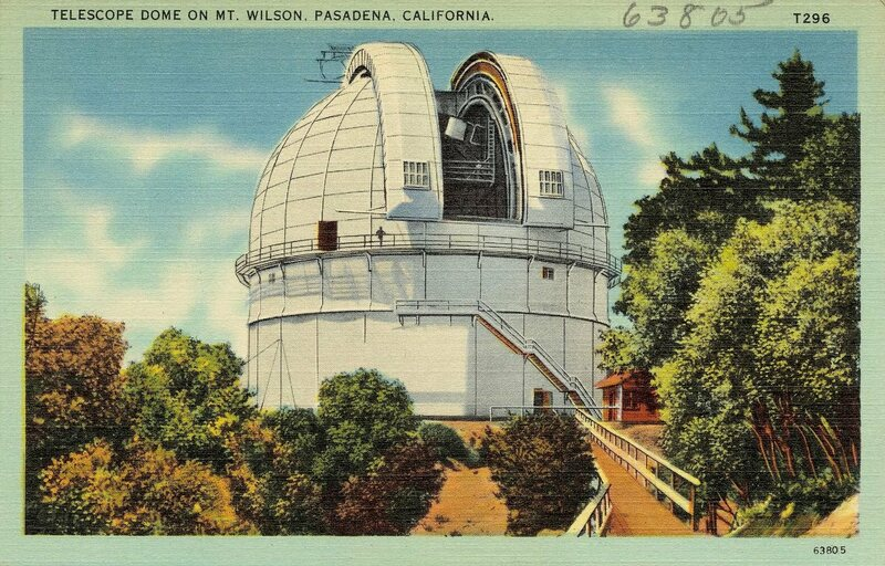 The telescope dome at Mt. Wilson, pictured on a postcard sometime in the 1930s or 1940s.