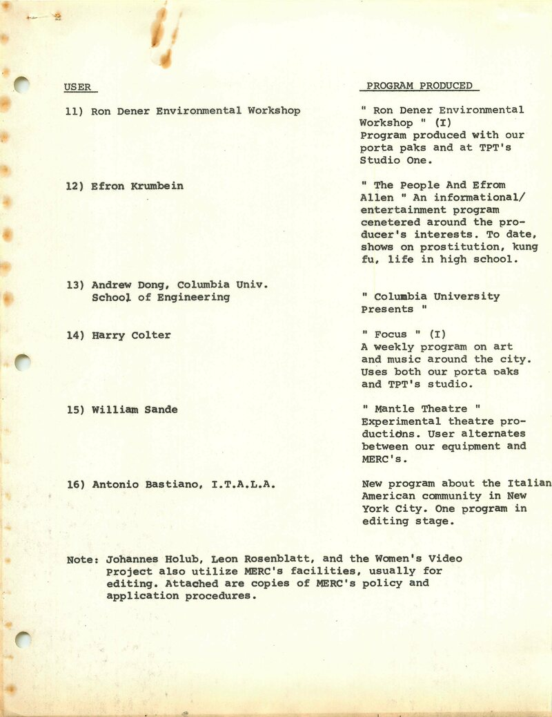 Portable video freed alternative media-makers. This is a list of some of the public access programs aired on Manhattan Cable Television in 1974.