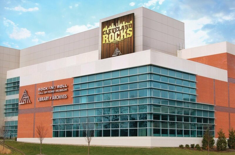 The outside of the Rock and Roll Hall of Fame Library and Archives.
