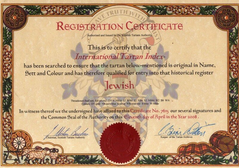 The Registration Certificate from the International Tartan Index.