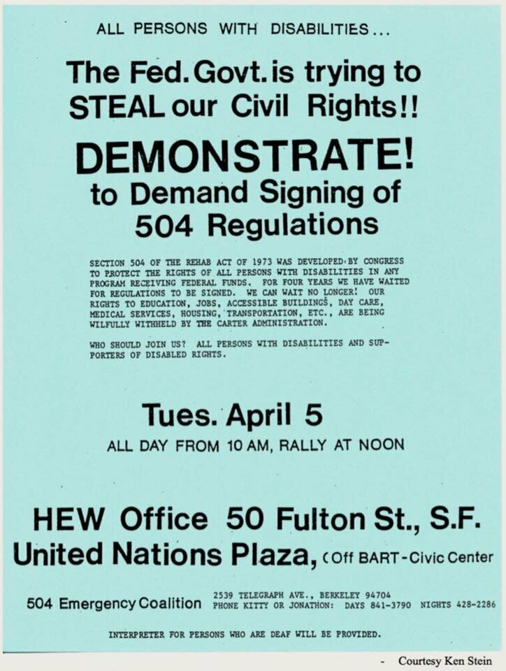 A flyer for the first day of the demonstration: April 5, 1977.