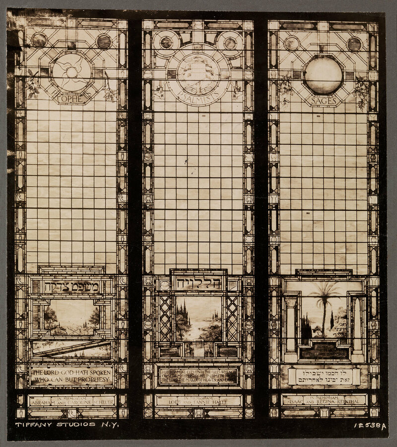 A composite photograph showing the windows at the Euclid Avenue Temple, Cleveland, Ohio.
