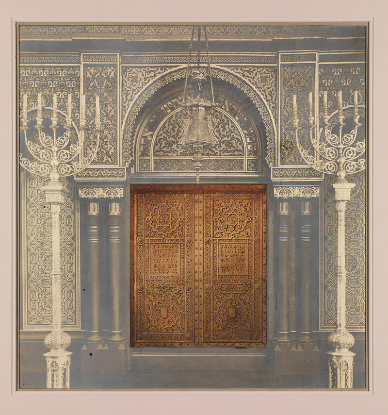 Tiffany's design for Ark doors pasted onto a photograph, Temple Emanu-El, New York, 1910.