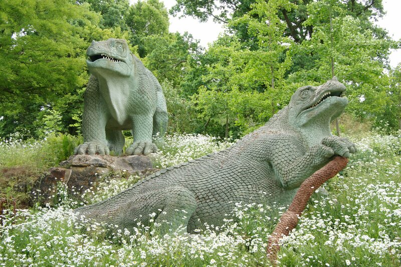 The banquet took place inside the standing iguanodon.