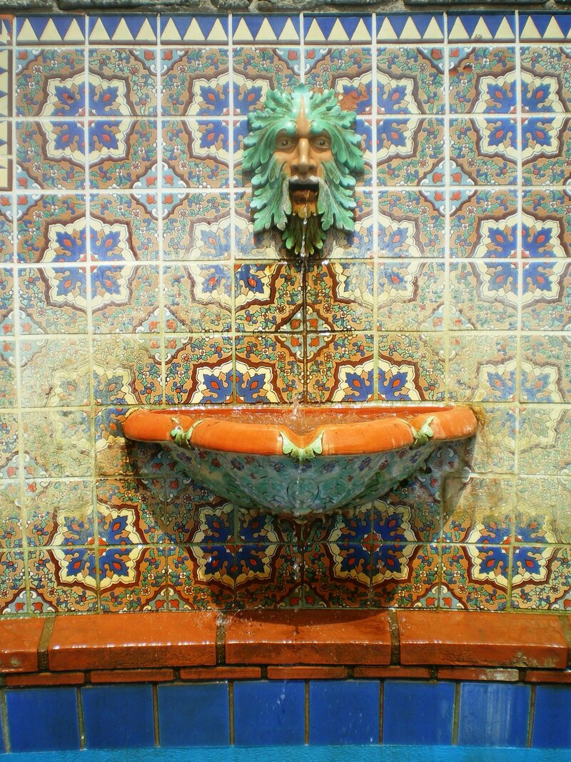 """The """"Neptune Fountain"""" detail at Adamson House."""