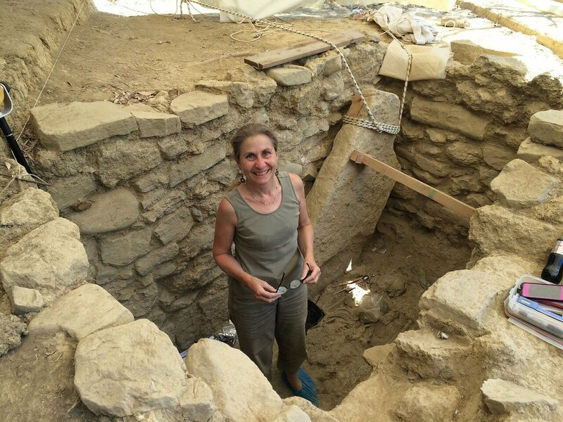 "Archaeologist Shari Stocker in the tomb of the ""Griffin Warrior."""