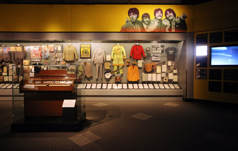 A selection from the Beatles exhibit at the Rock and Roll Hall of Fame. The Library and Archives, on a nearby campus, houses the Hall's artifacts and research materials.