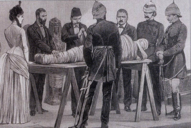 Working on a mummy in Cairo, 1886.
