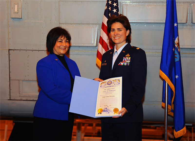 Lt. Col. Dana McCown was made a Nebraska Admiral for her work with M.A.D.D.