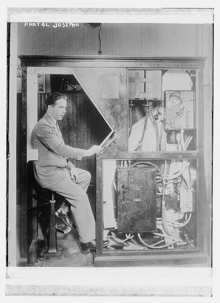 "Anatol Josepho, the inventor of the ""Photomaton"" photo booth that debuted in September 1925 at 1659 Broadway in New York City."