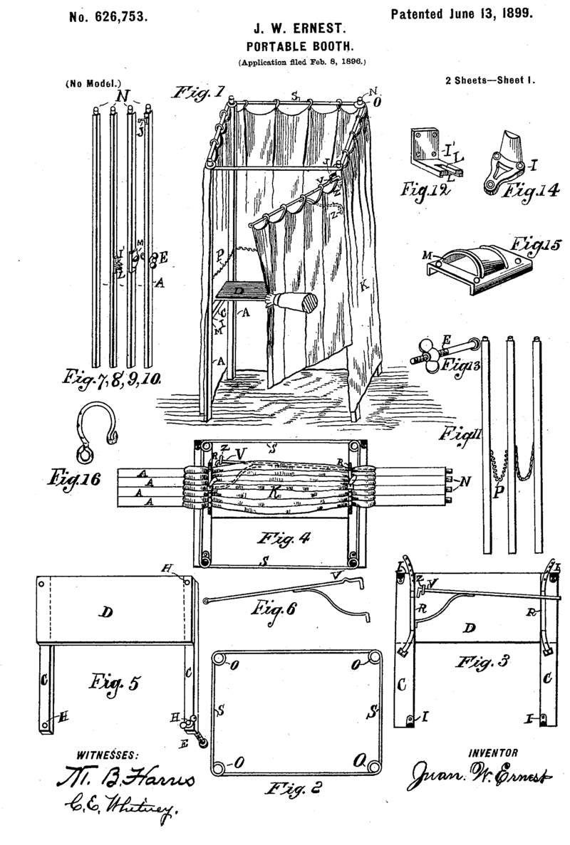 An early patent for the predecessor to Josepho's photo booth.