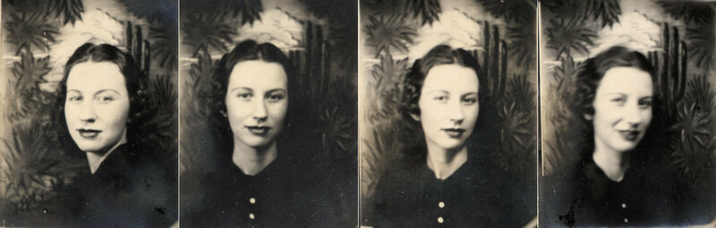 Photo-booth photos of a woman in her early 20s, Phoenix, Arizona, 1930s.