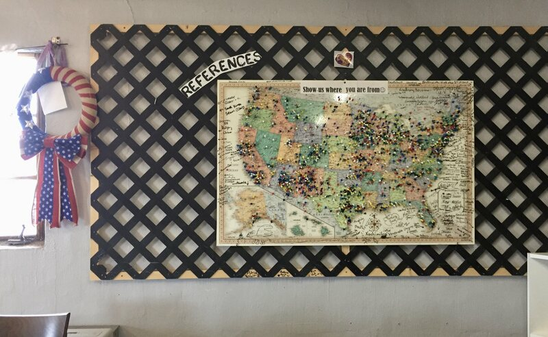 The map in the Gatherin' Place; each pin represents a visitor's hometown.