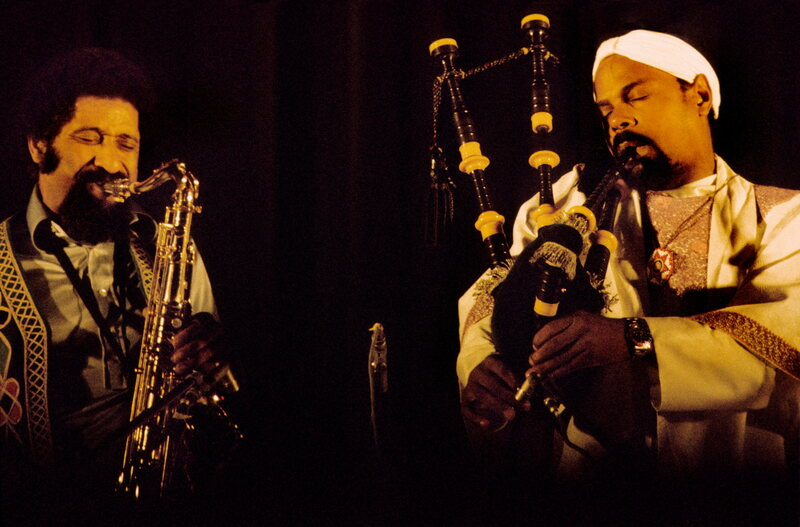 Harley performing with Sonny Rollins at Switzerland's Montreux Jazz Festival in 1974.