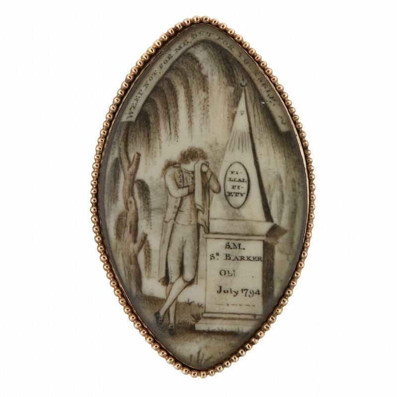 "A mourning pin, depicting a male mourner weeping beside obelisk inscribed, ""FI-/ LIAL/ PI-/ ETY."" Probably from America, dated 1794."