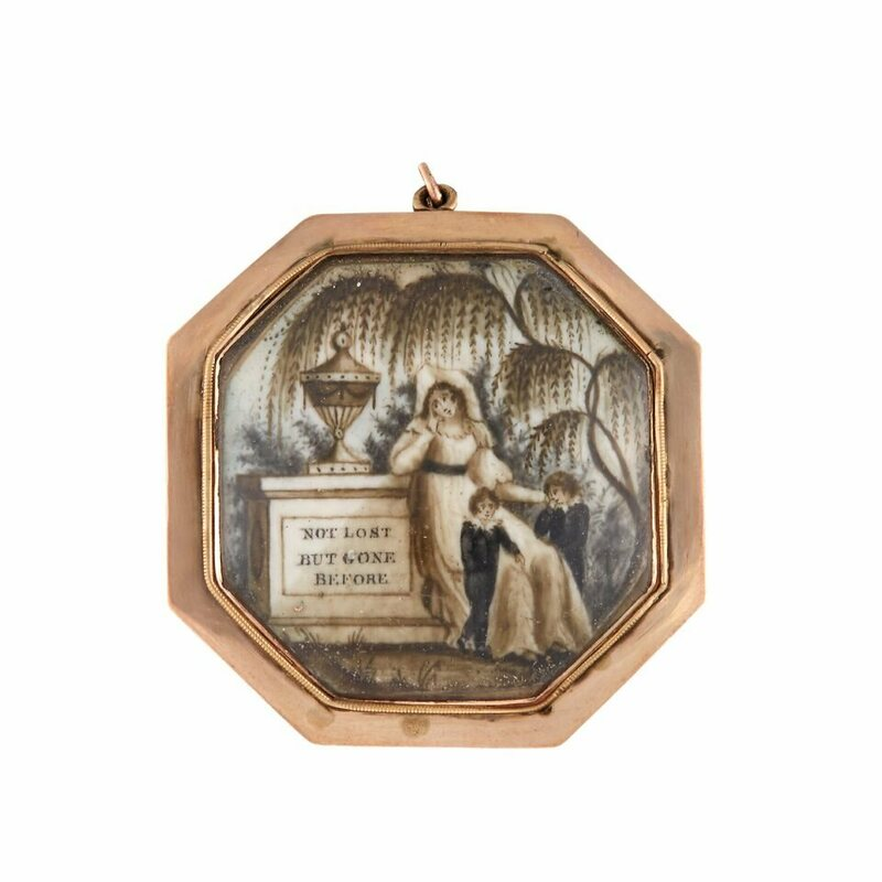 "A pendant painted with a woman and two children mourning beside urn on plinth inscribed ""NOT LOST/ BUT GONE/ BEFORE."" England or America, early 19th century."
