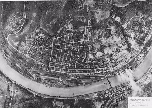 Aerial view of Donora and the American Steel and Wire complex, 1941.