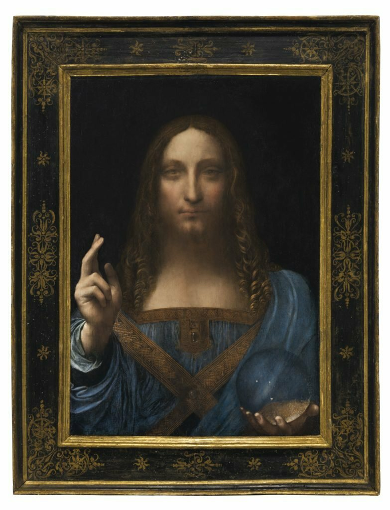 Leonardo da Vinci's <em>Salvator Mundi</em>, one of fewer than 20 known paintings by him, and the only one in private hands.