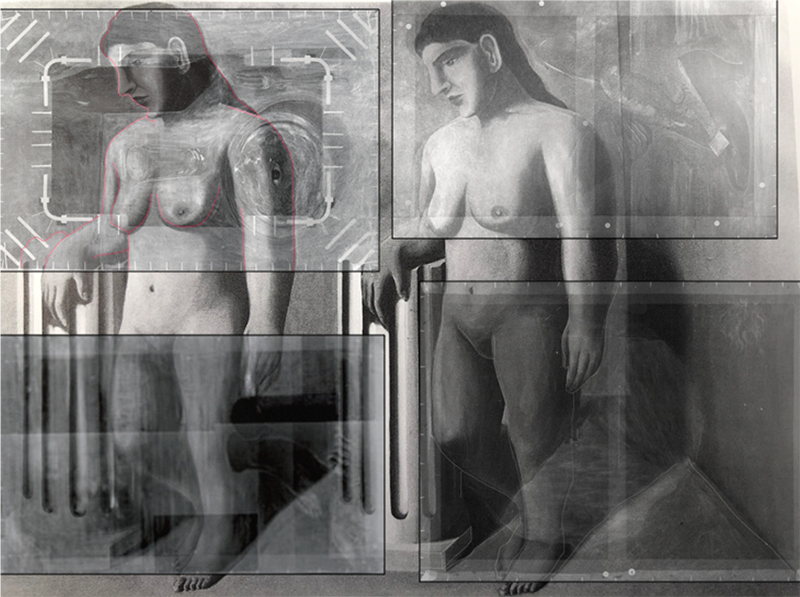 Reconstruction of <em>The Enchanted Pose</em> involving X-rays of the four works that were made from it.
