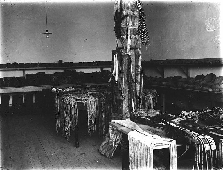 Native American artifacts at the Ferry Museum, Tacoma, Washington, c. 1911.