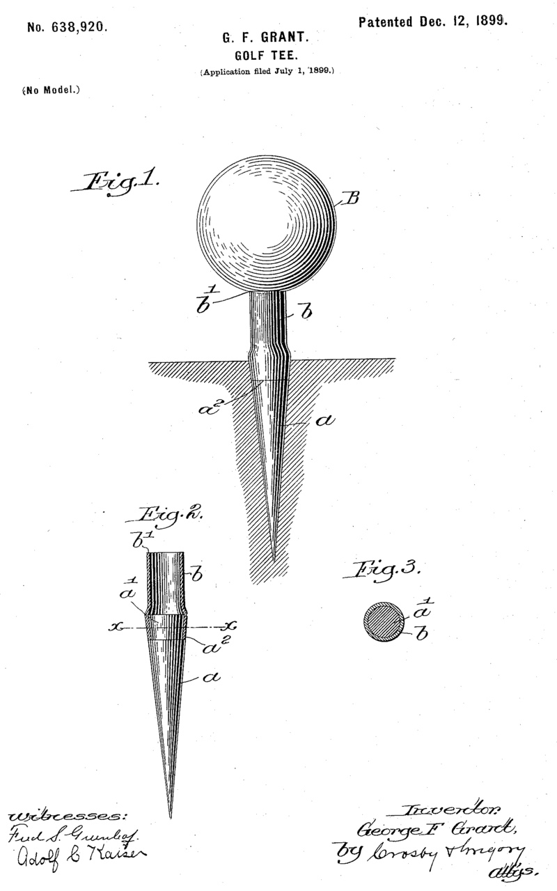 George Grant's patent for the wooden golf tee.