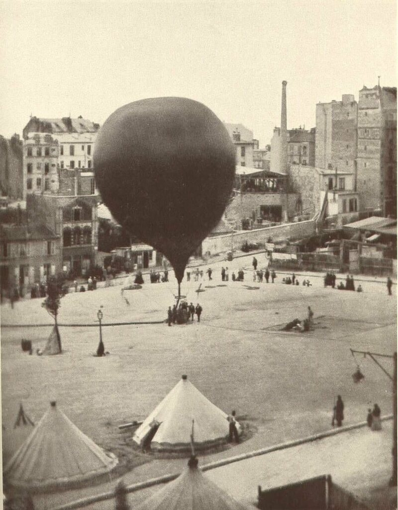 A mail balloon takes off from Paris in  September of 1870.