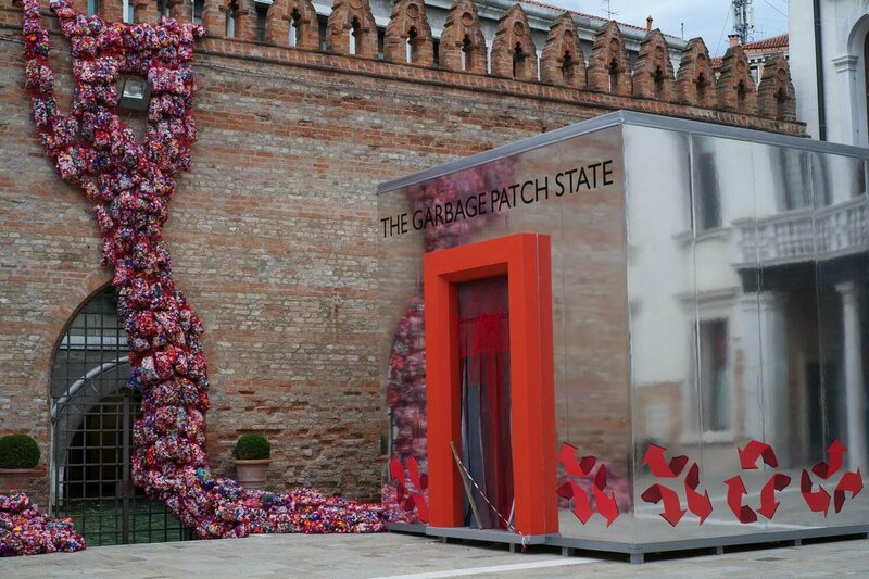 Finucci's Garbage Patch State installation at Venice Biennale in 2013. Visitors could request citizenship.