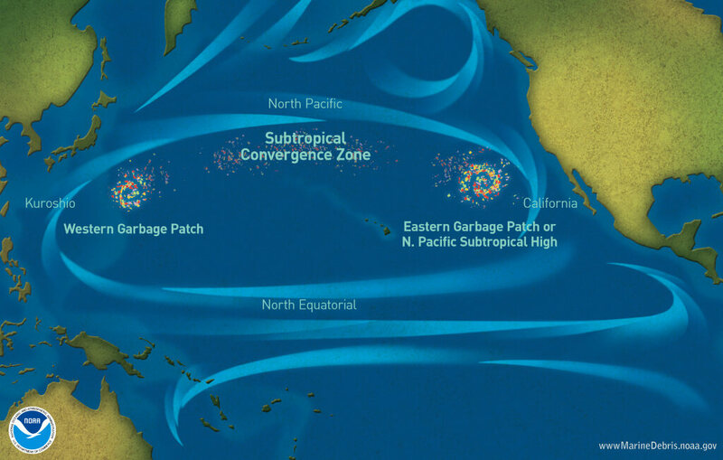 A NOAA map showing garbage patches in the Pacific Ocean.