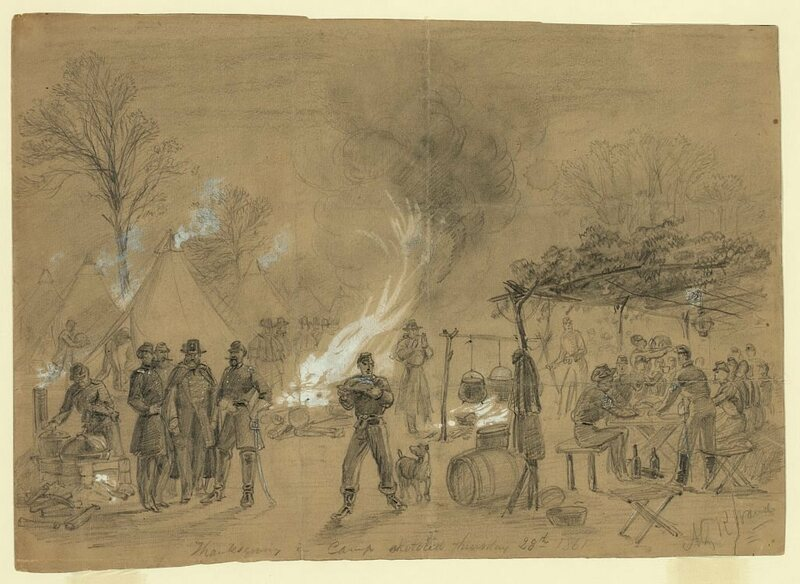 Thanksgiving in Union camp sketched on 28 November 1861, believed to be the camp of General Louis Blenker.