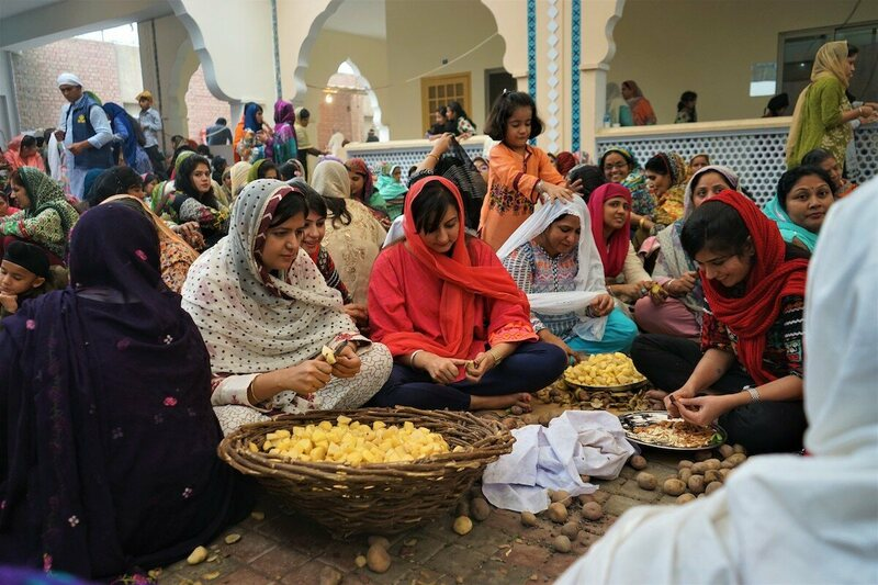A group of Sikh women preparing food for a Sikh langar in Nankana Sahib, Pakistan.