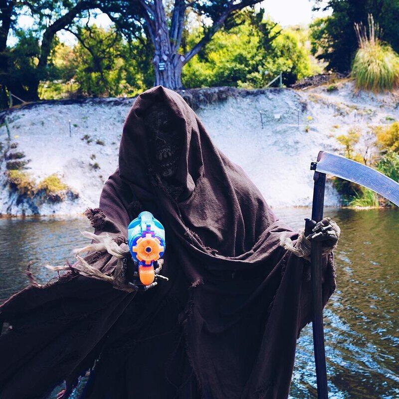 The Swim Reaper, having some fun.