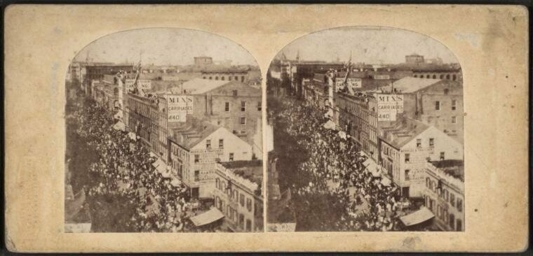 Stereograph of the Atlantic Telegraph Jubilee, New York, 1858.