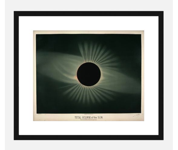 Framed print of the French artist and astronomer Étienne Léopold Trouvelot's chromolithograph of an 1882 total solar eclipse. $100 as shown.