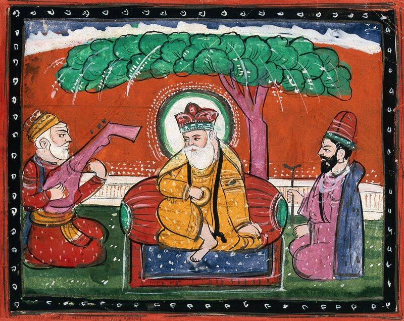 A 19th-century watercolor of Guru Nanak listening to music.