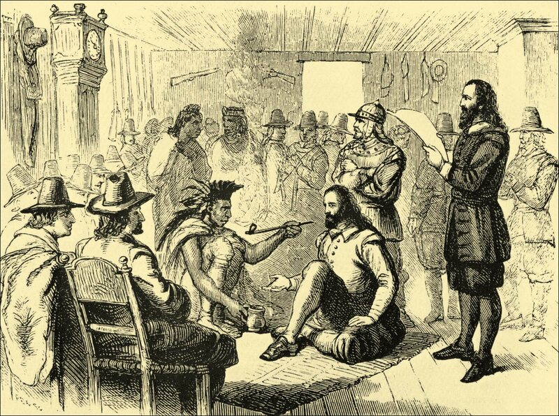 Massasoit, the leader of the Wampanoag, smokes a pipe with Plymouth Colony governor John Carver.