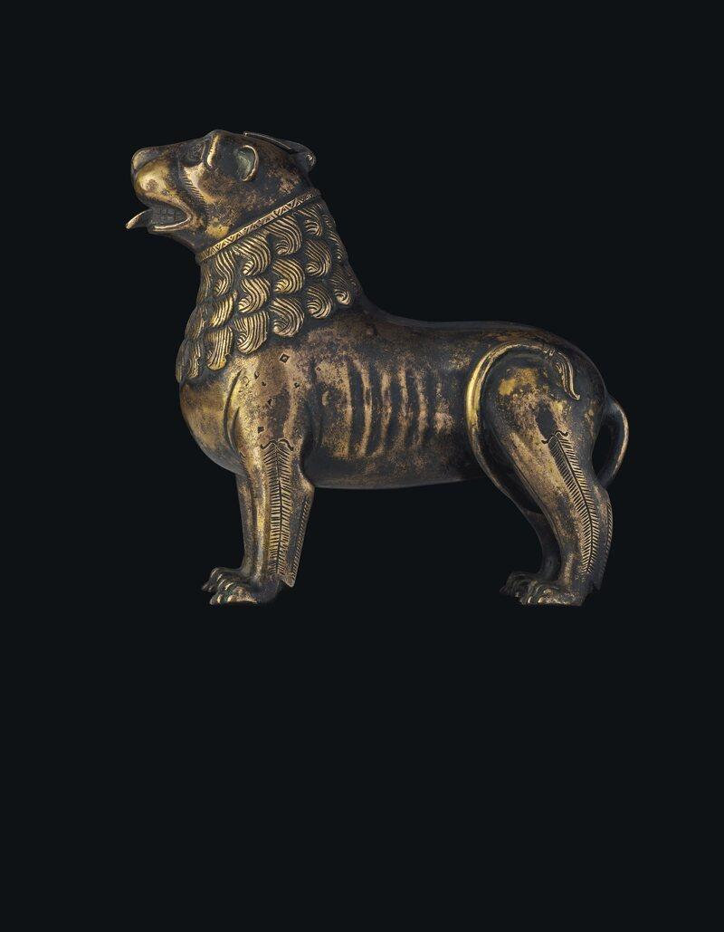 Lion Aquamanile, North German or Mosan, circa 1200, bronze, 15.3 cm. long