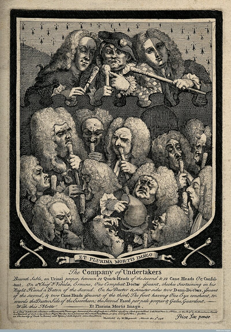 """William Hogarth's """"The Company of Undertakers,"""" with Mapp pictured in the center-top."""