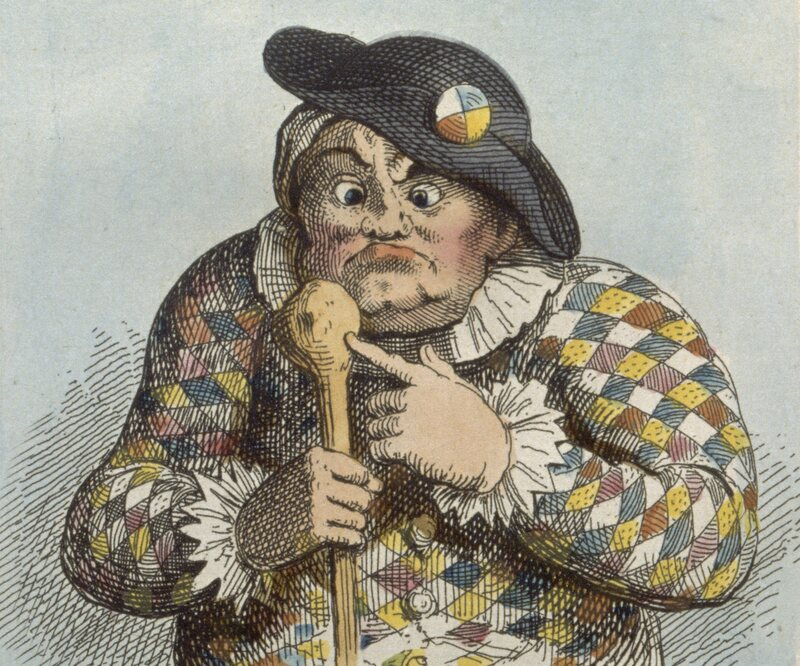 """An 1819 etching of Sarah """"Crazy Sally"""" Mapp, based on an earlier caricature."""