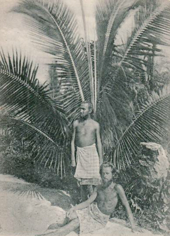 A picture of Engelhardt with concert pianist Max Lützow, who came to join the nudist, coconut-centric community.