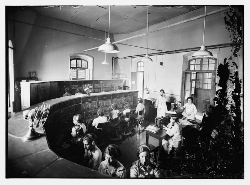 A telephone switchboard, early 20th century.