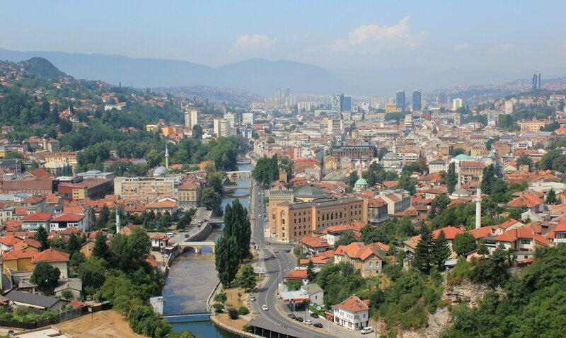 Sarajevo seen from a distance.