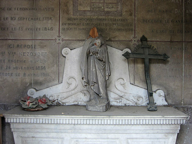 Inside a mausoleum in Père Lachaise Cemetery in Paris