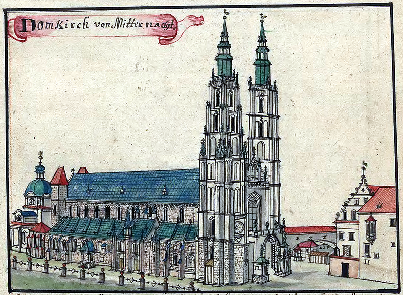 An 18th-century depiction of the Cathedral of St. John the Baptist on Ostrów Tumski.