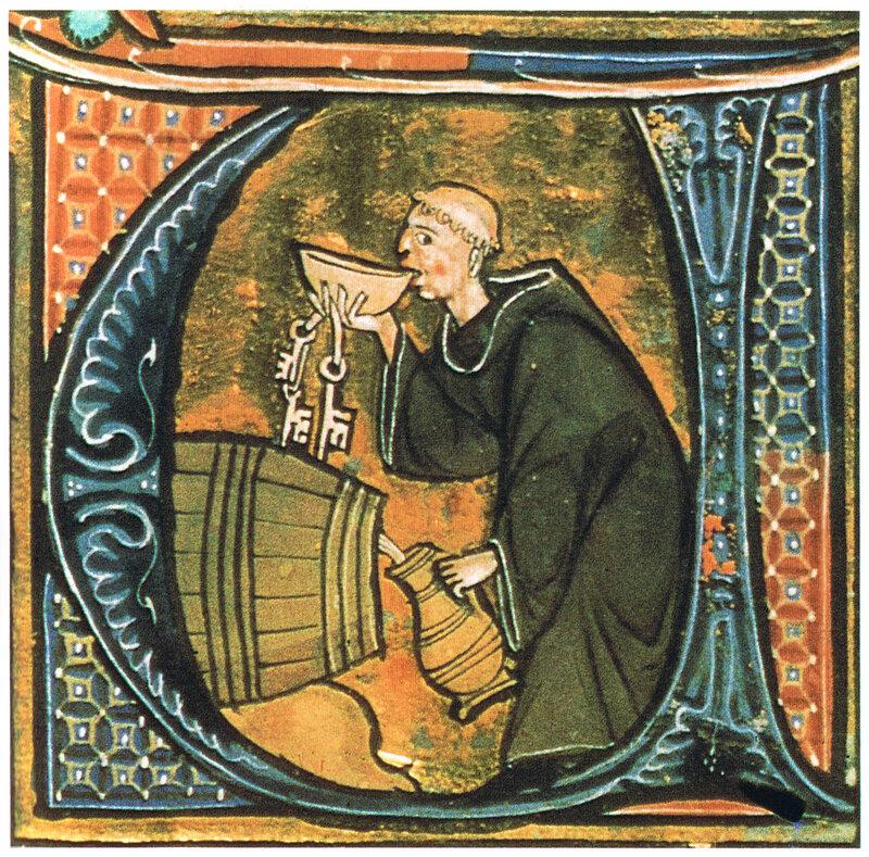 A medieval illumination showing a monk tasting wine or beer, from <em>Li livres dou santé</em>, late 13th century.